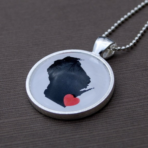 Wisconsin Love - Map Necklace Pendant Jewelry - Great Gift