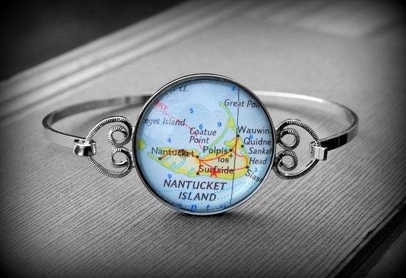 Nantucket Map Bracelet Bangle Jewelry