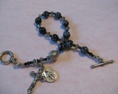 Black and Snowflake Obsidian Single Decade Rosary Bracelet