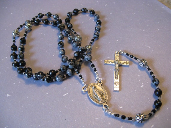 Snowflake Obsidian Rosary with Miraculous Medal Center