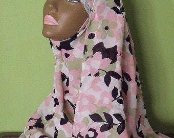 Shayla Hijab - Black Pink Sage White Scarf