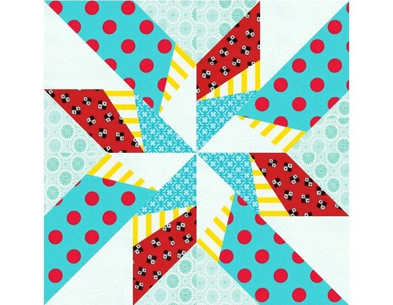 Dancing Arrows paper pieced quilt block pattern PDF