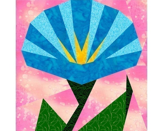 Morning Glory Paper Pieced Quilt Block Pattern Pdf