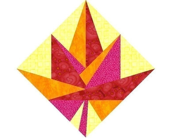 Leaf Quilt Pattern Blocks : Maple Leaf Paper pieced quilt block pattern PDF