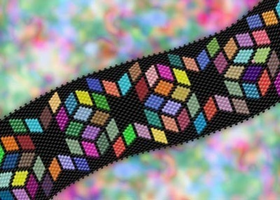 Delica Diamonds Bracelet Peyote Brick Stitch Graph Pdf