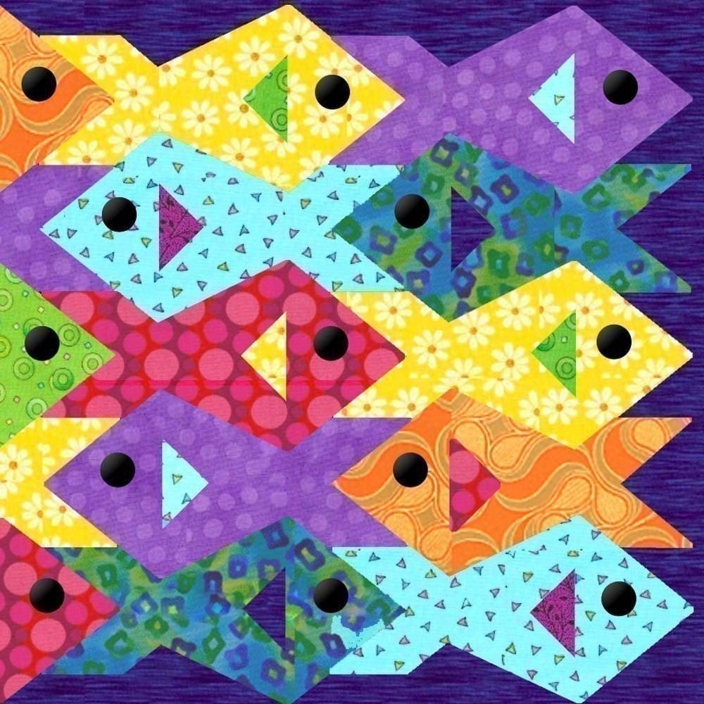 Tessellating Fish Paper Pieced Quilt Pattern Pdf Format
