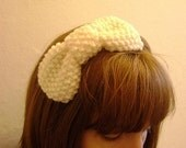 take a bow - knitted headband - cream