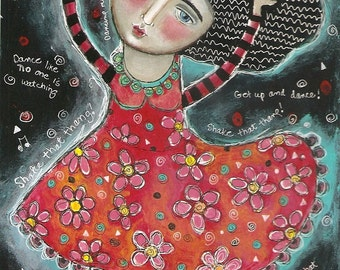 SALE  SPECIAL PRICE!! Free Shipping Mixed Media Folk Art Painting Print  Dance