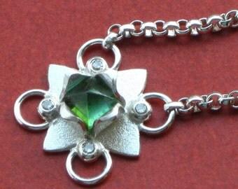 Diamond Lotus Pendant with Green Tourmaline handmade by Cristina Hurley