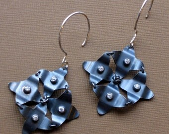 CHJ Silver and CZ Galaxy Earrings