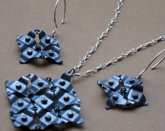 Oxidized Sterling Silver Galaxy Necklace And Earrings Set with CZs, Silver Galaxy Necklace Set, Handmade Necklace and Earrings Set w CZs