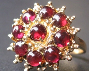 One of a Kind 14k Yellow Gold and Genuine Red Garnet Vintage Ring
