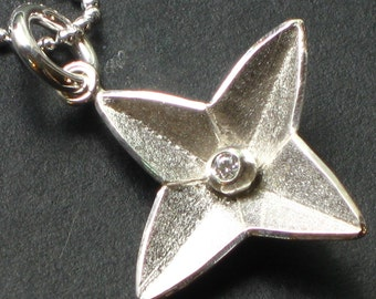 Sterling Silver and CZ North Star Pendant, North Star Necklace, Silver Star Pendant, 4 point star necklace, Four point Star Pendant, Star