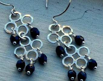 Sterling Lucky Clover Earrings Black Crystals