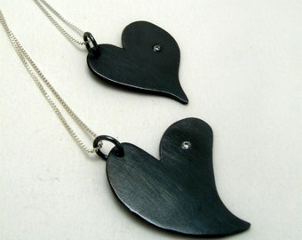 Sterling Silver Heart Pendant with single set Cubic Zirconia Oxidized by Cristina hurley