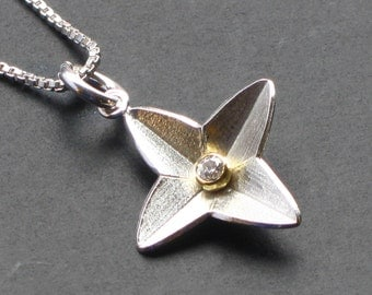 North Star Pendant in Sterling Silver, 4 Point Star Pendant with Diamond, Diamond Star Pendant with Gold Accent, Silver Star Pendant