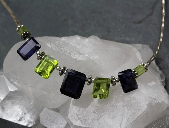 Iolite and Peridot Emerald Cut Necklace