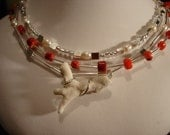 RESERVED for CHRISTINE Sparkling Coral Necklace and Earrings Set