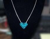 Blue Zircon Swarovski Crystal Puffy Heart