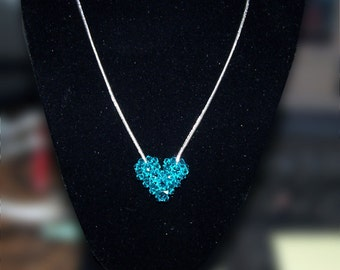 Blue Zircon Swarovski Crystal Puffy Heart