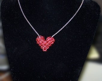 Padparadscha Swarovski Crystal Puffy Heart