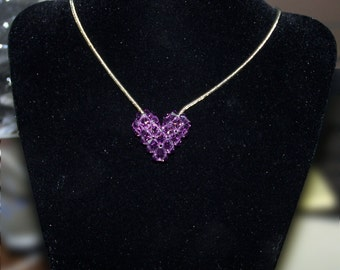 Tanzanite Swarovski Crystal Puffy Heart
