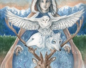 Mother Winter, Native American Fantasy Style Digital Print of Original Watercolor Painting by Victoria Chapman