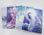 Art Greeting Card Set, 4 Cards of Original Watercolor Art. Earth Mother, Moon Mother, Wolf Song, Drowning in Ether.