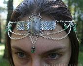 Daughter of the Sun Scarab Circlet - Egyptian Goddess Faerie Headdress - Silver, Hematite, Green Gemstone