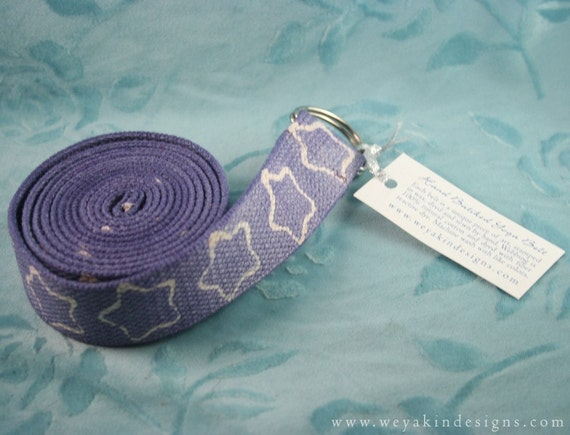 Yoga Belt Strap, Hand Batik Purple with Stars, Natural Cotton with D Rings