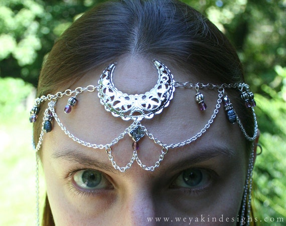 Celtic Moon Faerie Circlet - Silver Filigree Moon and Chain with Purple Glass and Blue Pearls Headdress
