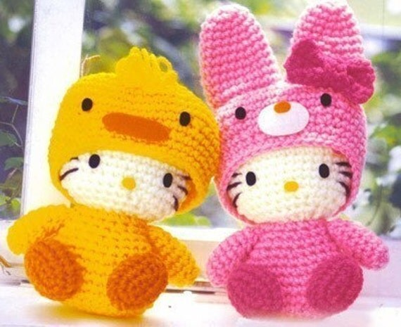 Easter Chicken and Rabbit Hello Kitty Crochet Knitting Pattern