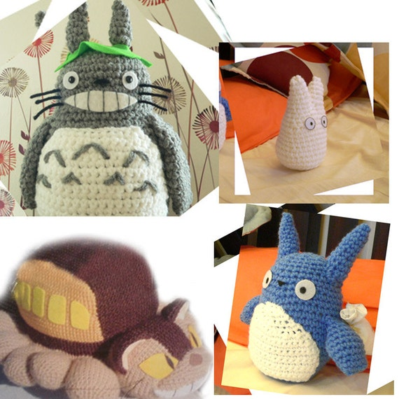 4 Amigurumi My Neighbor Totoro and Cat bus Crochet by getfun