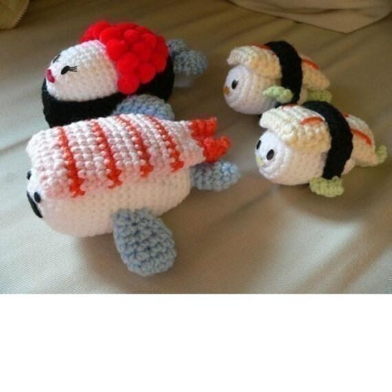 Amigurumi Sushi Fish Ocean Family Crochet Set Pattern PDF PLUS