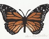 Nature Art, Monarch Butterfly, Orange, Black, and White, Woodblock Print