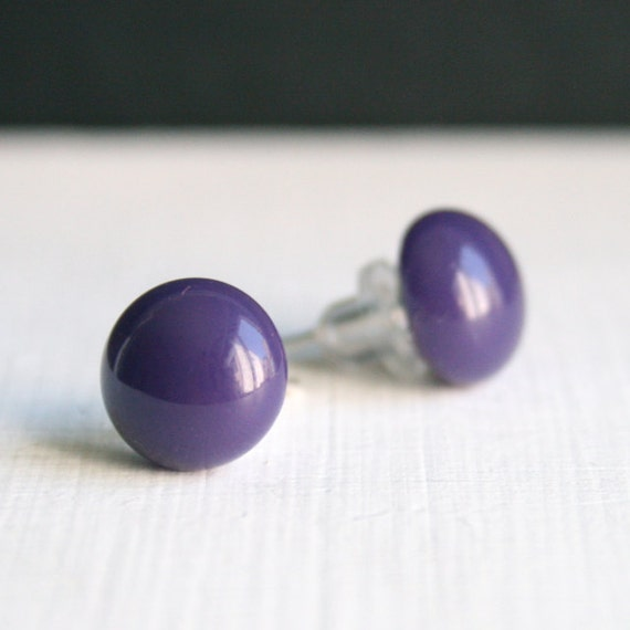 Fused Glass Stud Post Earrings - Bright grape purple  - 10mm small round circle
