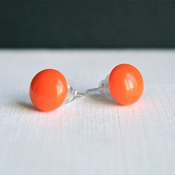 Fused Glass Stud Earrings // Orange