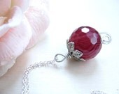 Reserved for Alessandra Burgundy pendant Burgundy bead Sterling silver Red grape
