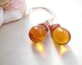 Glass Drop Earrings - Copper earrings -  Honey Earrings