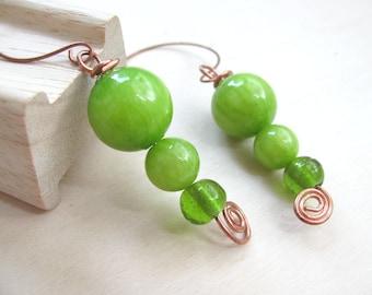 Green Apple Earrings  Neon earrings Neon jewelry  Jade Beads  Copper Earrings