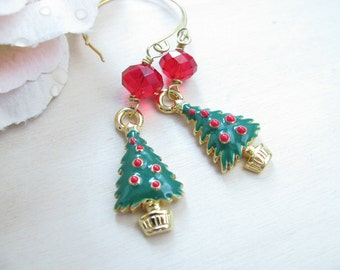 Christmas jewelry Holiday jewelry Christmas earrings  Christmas tree earrings Handmade earwires