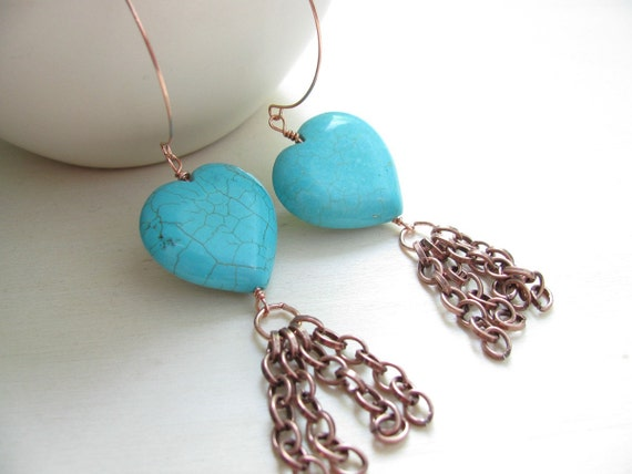 Earrings turquoise  copper  Turquoise earrings Handmade copper earwires Turquoise beads  Hearts Earrings