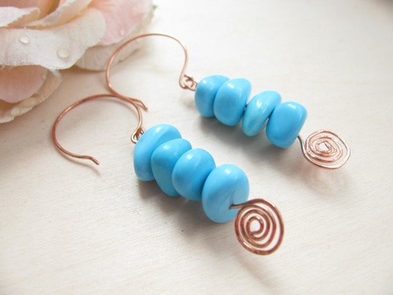 Handmade Turquoise and copper earrings  Turquoise beads  Turquoise jewlery  Handmade copper earwires