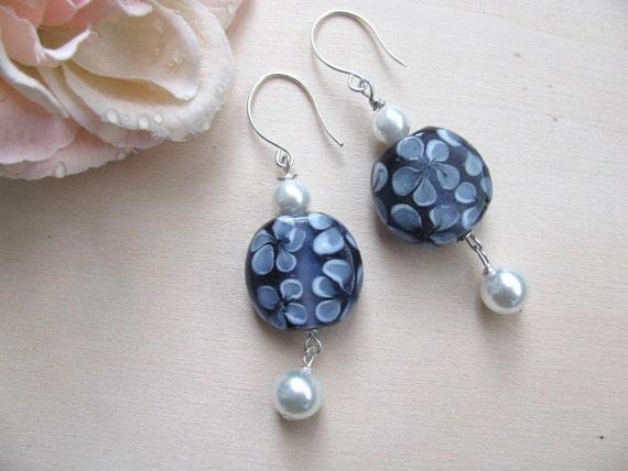 Blue flower earrings Glass earrings Spring jewelry  Handmade Silver Earwires