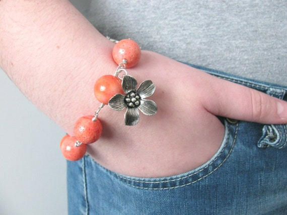 Tangerine Tango Flower Bracelet - Wire Wrapped Flower Pendant
