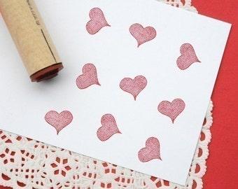 Cobblestone Heart Rubber Stamp