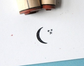 Crescent Moon and Stars Rubber Stamp Set