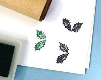 Holly Leaf  Rubber Stamp