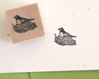 Nesting Bird Rubber Stamp
