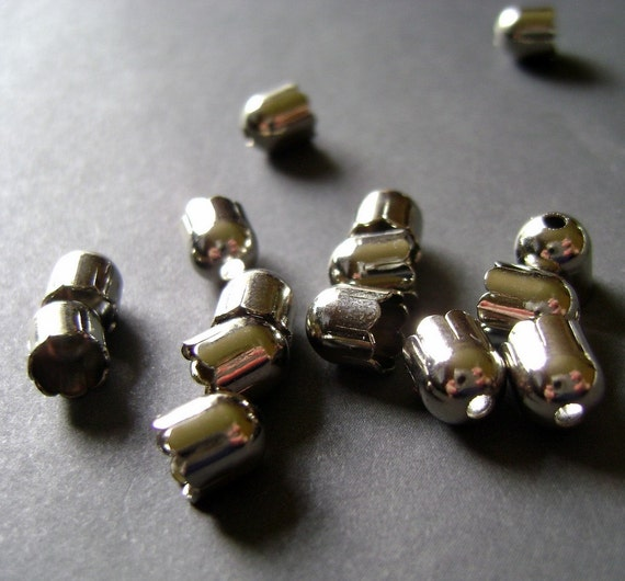 20 Silver Plated End Caps 6x6mm